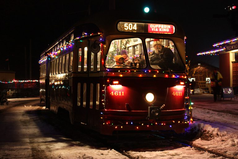 Streetcar with Christmas Lights