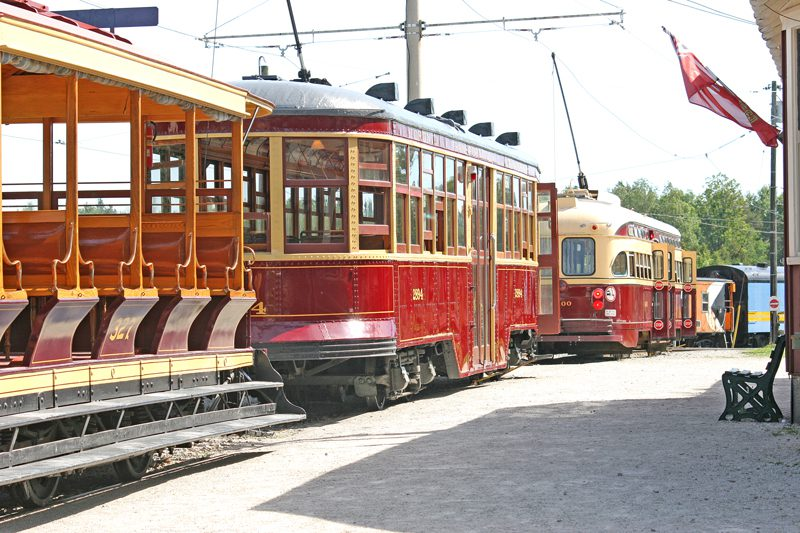 Line up of streetcars